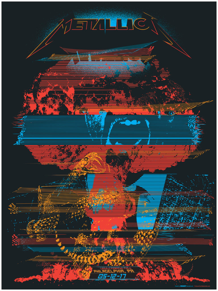 Metallica Poster for their May 2017 show at Lincoln Financial Field in Philadelphia, Pennsylvania featuring a mushroom cloud, snake, and shouting talking head distorted with CRT glitch effects.