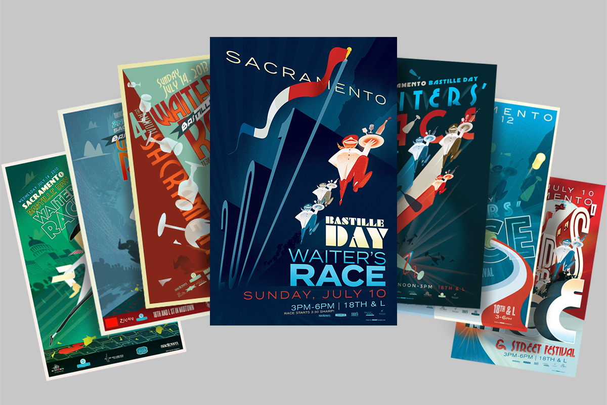 Sacramento Bastille Day Waiters' Race Posters 2010-2017