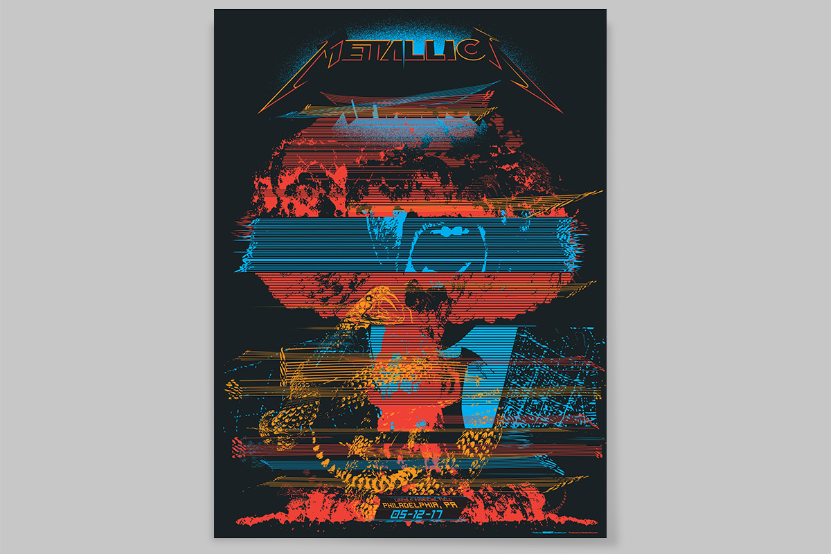 Metallica poster by Decabet for the May 2017 show in Philadelphia, Pennsylvania