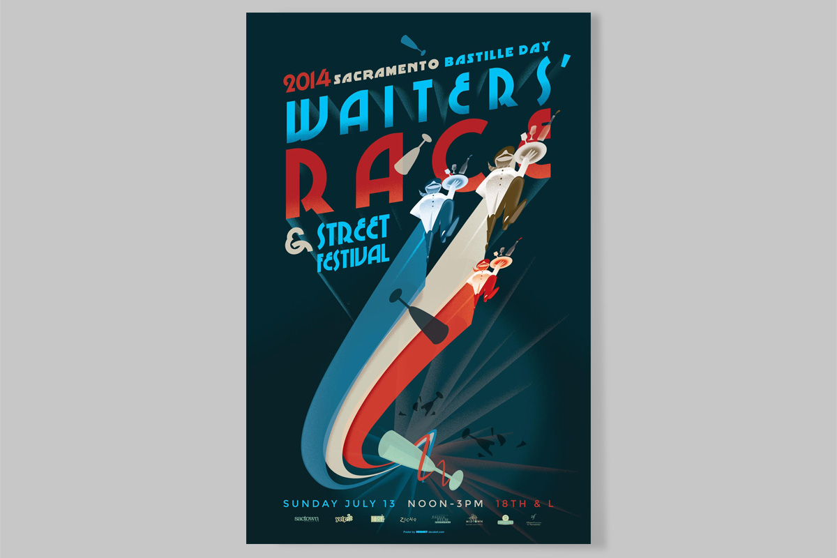 Sacramento Bastille Day Waiters' Race Poster 2014