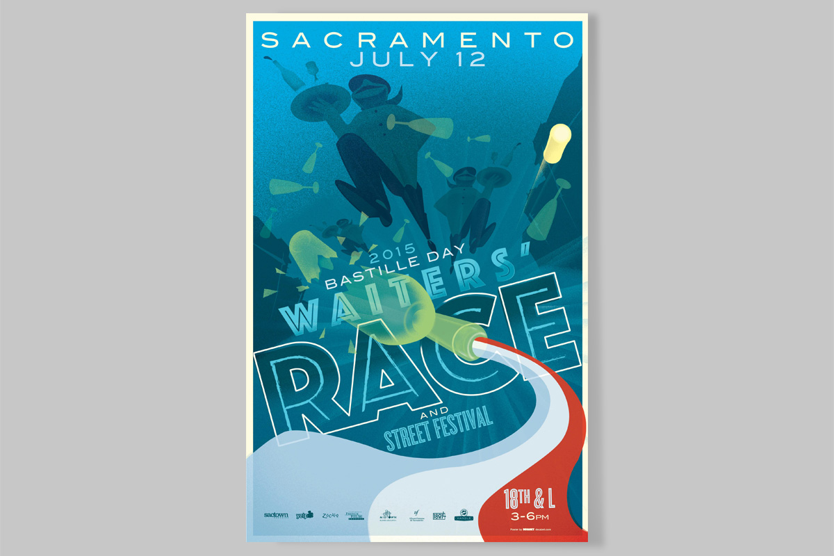 Sacramento Bastille Day Waiters' Race Poster 2015