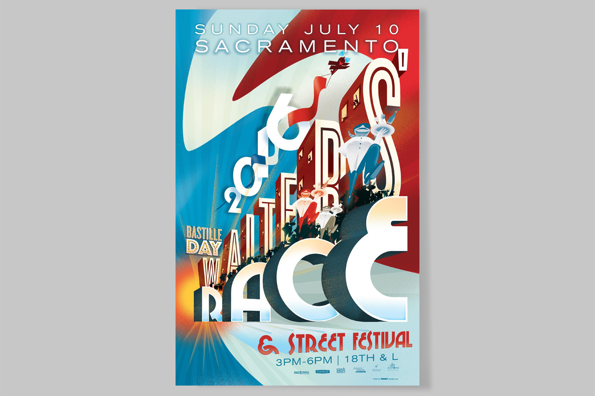 Sacramento Bastille Day Waiters' Race Poster 2016