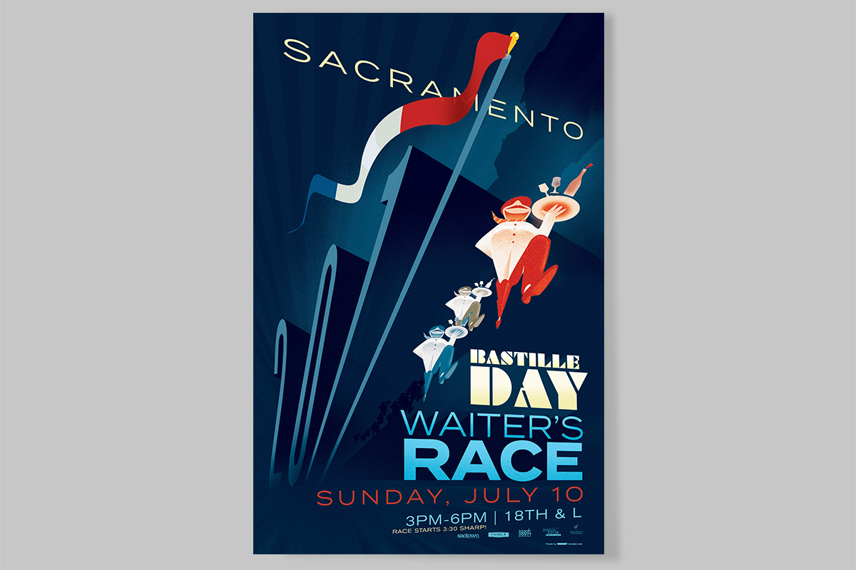 Sacramento Bastille Day Waiters' Race Poster 2017