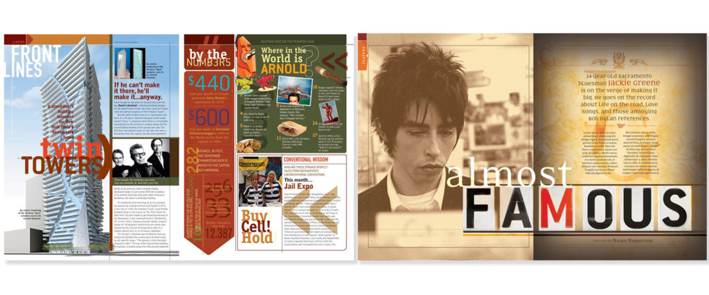 early design tests for Sactown magazine