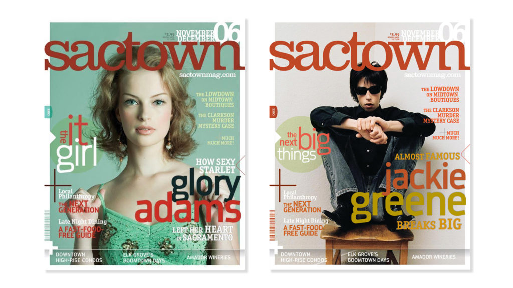 Initial mock cover designs for Sactown magazine. 2006