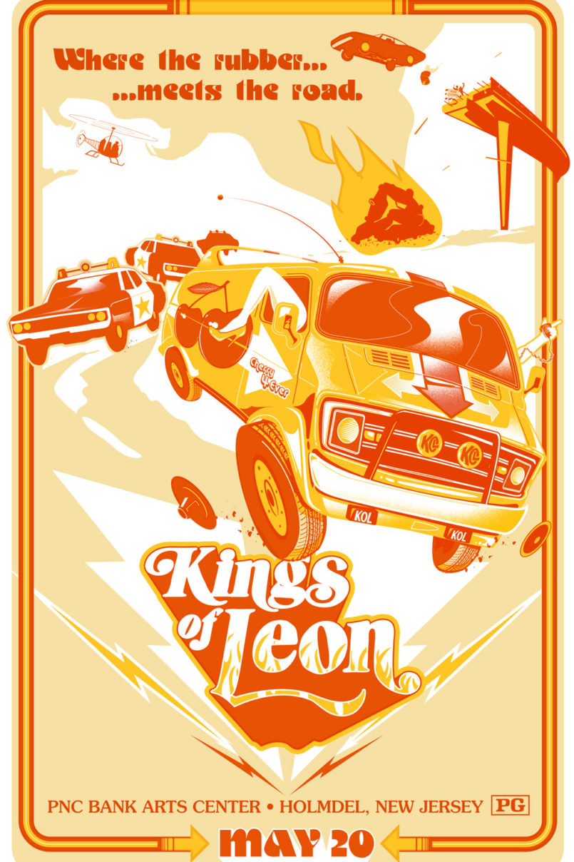 Poster for Kings of Leon's May 2017 show at the PNC Bank Arts Center in Holmdel, New Jersey designed by Jason Malmberg for Decabet, featuring a dynamic 1970's movie poster style police chase with a custom van