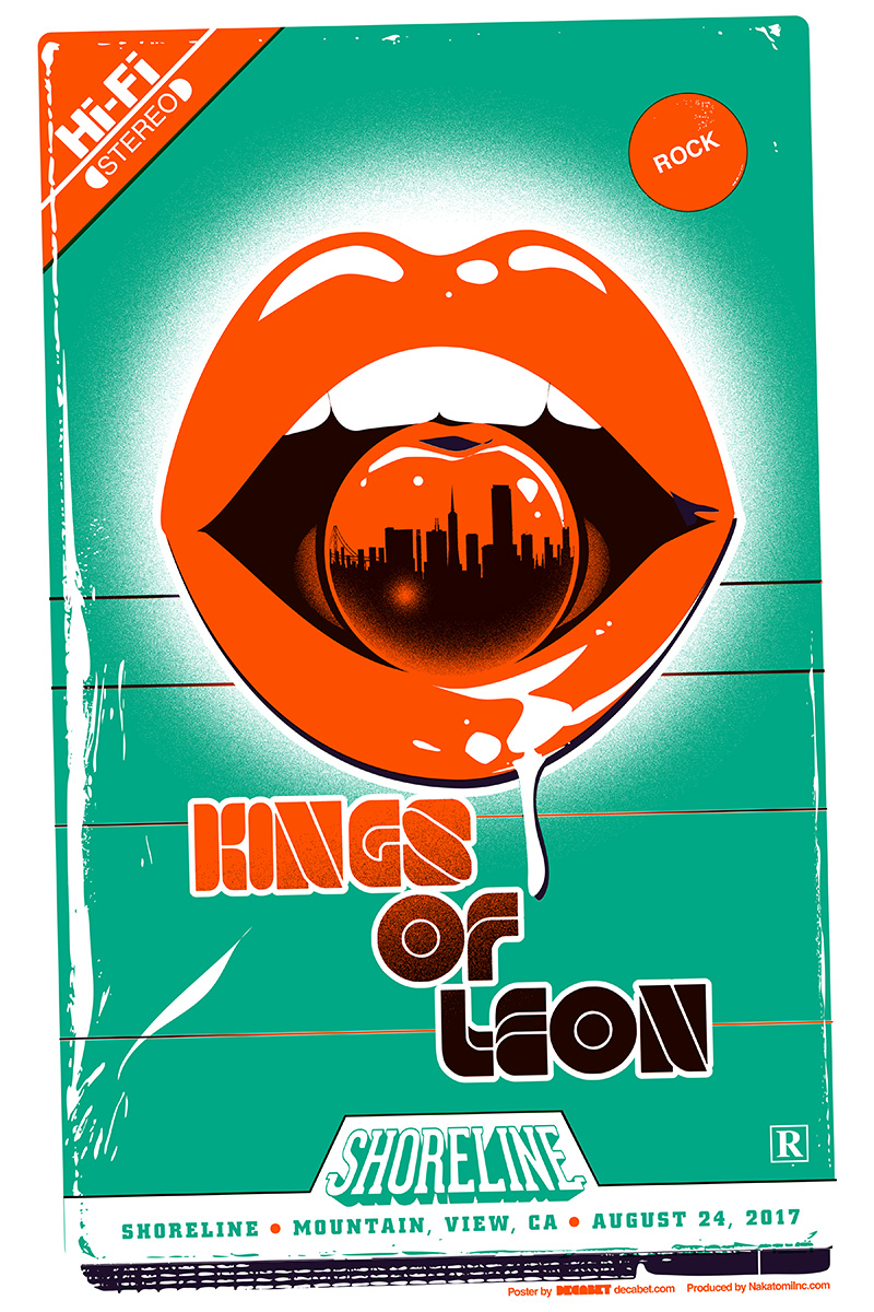 Poster for Kings of Leon's August 2017 show at Shoreline Amphitheater in Mountain View, California, designed by Jason Malmberg for Decabet featuring a retro 1980's style VHS cover with bright red lips holding a dripping cherry