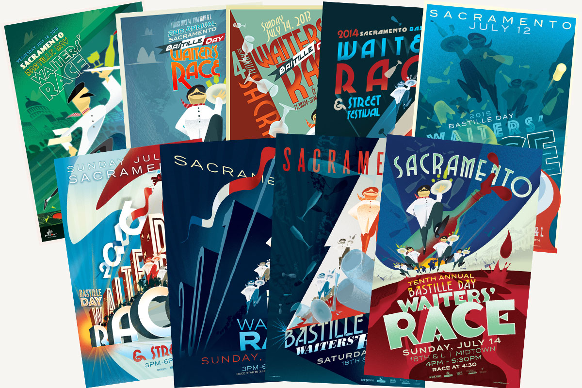 Collection of posters created for the Sacramento Bastille Day Waiters' Race from 2010-2019