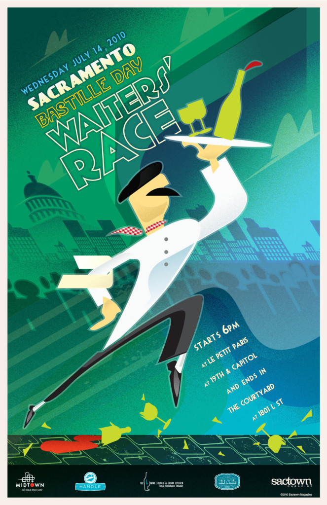 2010's First Annual Bastille Day Waiters' Race Poster, designed by Jason Malmberg, illustrated in a classic French Kiosk poster style and featuring the first appearance of the now iconic striding waiter figure, carrying high a tray of precariously stacked glassware as he leaps over shattered glasses and wine bottles.