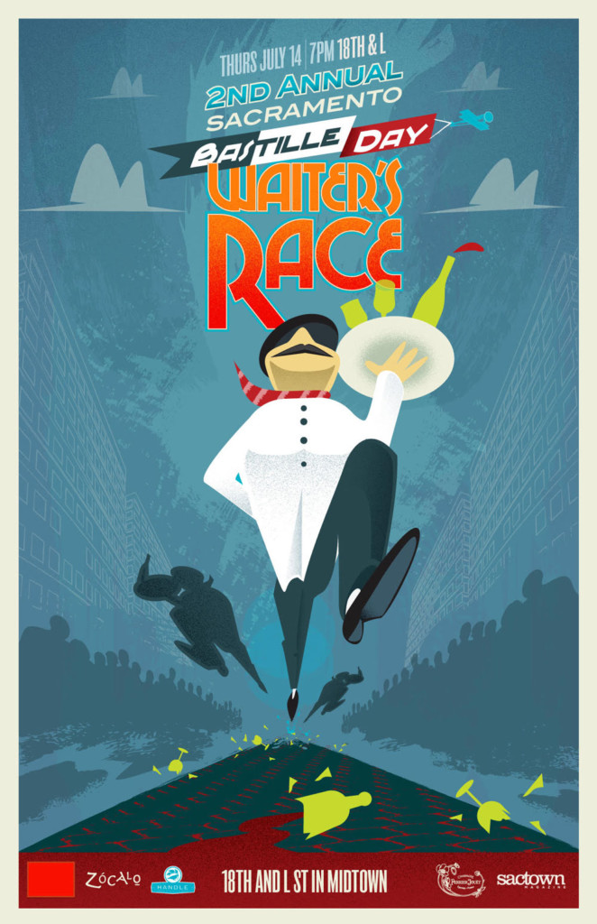 2011's Second Annual Bastille Day Waiters' Race Poster, designed by Jason Malmberg, illustrated in a classic French Kiosk poster style and featuring the second appearance of the now iconic striding waiter figure, carrying high a tray of precariously stacked glassware as he leaps over shattered glasses and wine bottles on the cobblestone street. This is the Waiter's first appearance in the refined streamlined style he's now famous for.