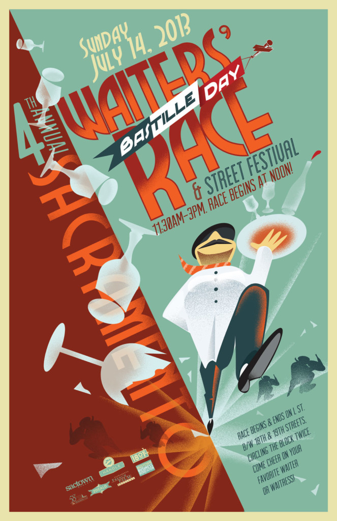 2013's 4th Annual Bastille Day Waiters' Race Poster, designed by Jason Malmberg, illustrated in a classic French Kiosk poster style and featuring the third appearance of the now iconic striding waiter figure, carrying high a tray of precariously stacked glassware but now in a more graphic, type-driven composition. This one is a bit more Bauhaus.