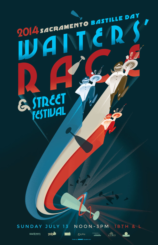 2014's 5th Annual Bastille Day Waiters' Race Poster, designed by Jason Malmberg, illustrated in a classic French Kiosk poster style and now featuring the iconic waiter character repeated in the three colors of the French flag for a more impressionistic fantastia composition. The waiters race each other around a tumbling glass, leaving streams of color trailing in their wake.