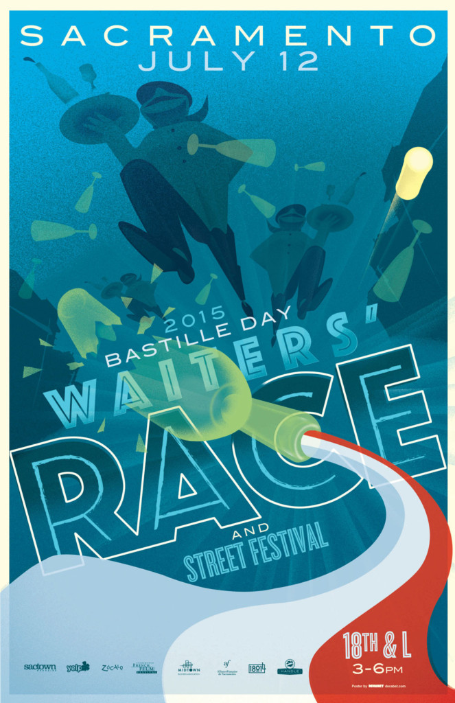 2015's 6th Annual Bastille Day Waiters' Race Poster, designed by Jason Malmberg, shows the composition opening itself up to more extreme perspectives, as the waiters race through an urban canyon and a foreshortened broken bottle pours forth the three colors of the French flag over the title treatment.