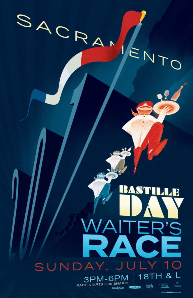 2017's 8th Annual Bastille Day Waiters' Race Poster, designed by Jason Malmberg, shows the year rendered as a set of towering dominoes in motion, with the 7 a French flag coming down upon the racing waiters, drawn in extreme perspective.