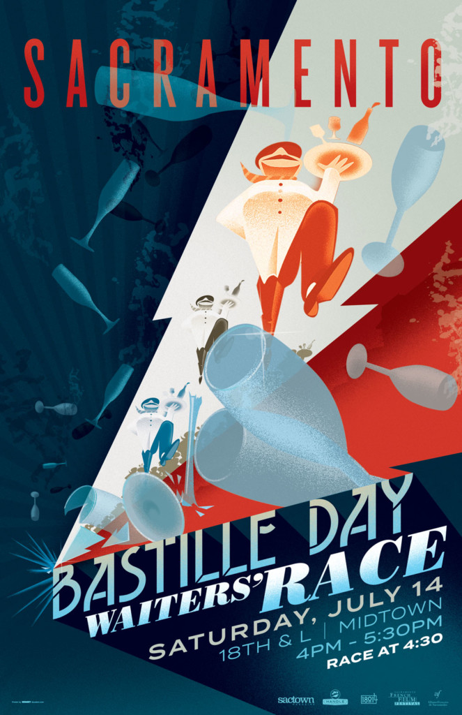 2018's 9th Annual Bastille Day Waiters' Race Poster, designed by Jason Malmberg, is a cacophony of showers of shattering glassware as the waters race along a wall of stacked text.