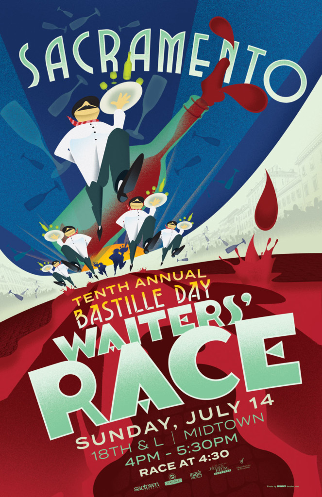2019's 10th Annual Bastille Day Waiters' Race Poster, designed by Jason Malmberg, is a cacophony of showers of shattering glassware as the waters race along a wall of stacked text.