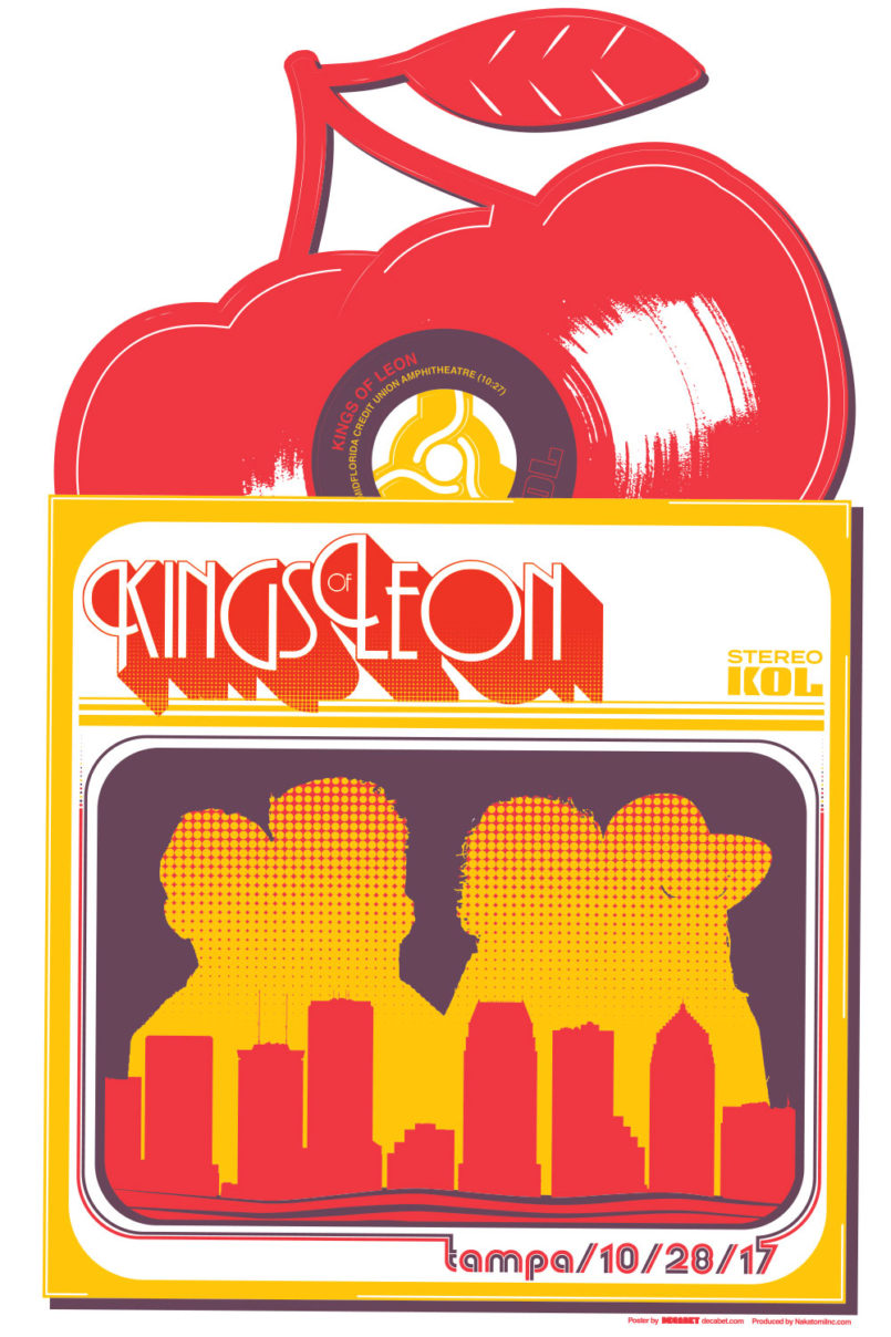 Poster for Kings of Leon's October 2017 show at MidFlorida Credit Union Amphitheater, designed by Jason Malmberg for Decabet, featuring the band in shadows on the cover of a retro 45 picture sleeve with cherry-shaped vinyl