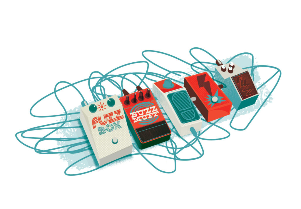 Illustration of guitar pedals by Jason Malmberg for The Little Book of Rock and Roll Wisdom